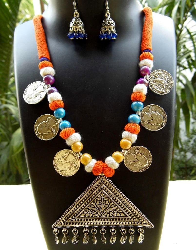 Threaded German Silver Necklace Set -Orange&Blue With Triangle Pendant