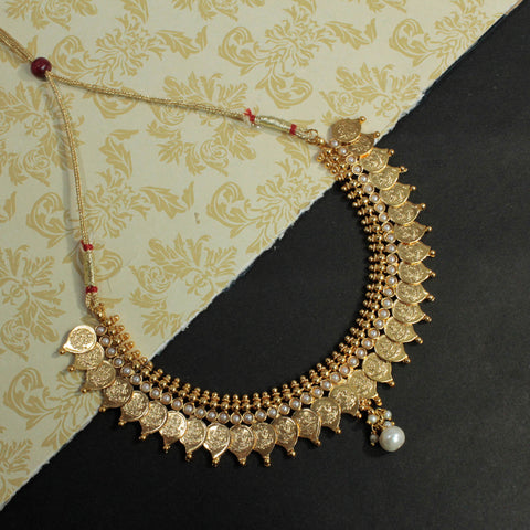 Antique Gold Leaf And Lakshmi Design Choker Necklace Set