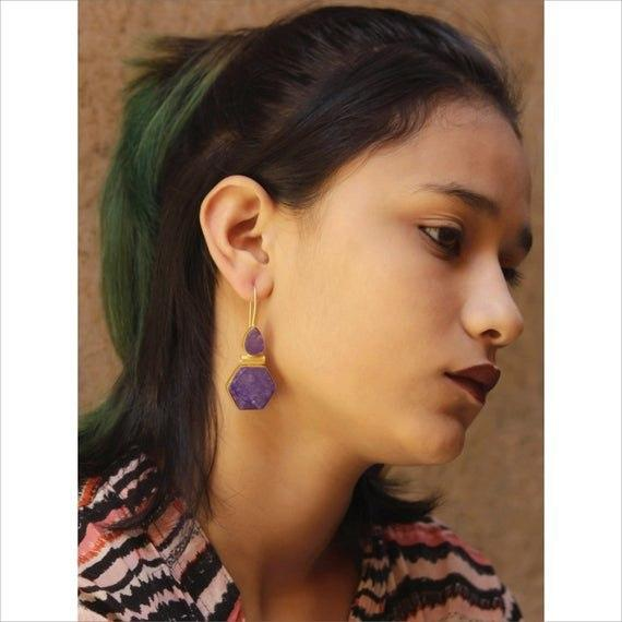 Avismaya Gold Plated Pentagon Design Purple Color Druzy Stone Dangler Earring-AVISMAYA-Earring