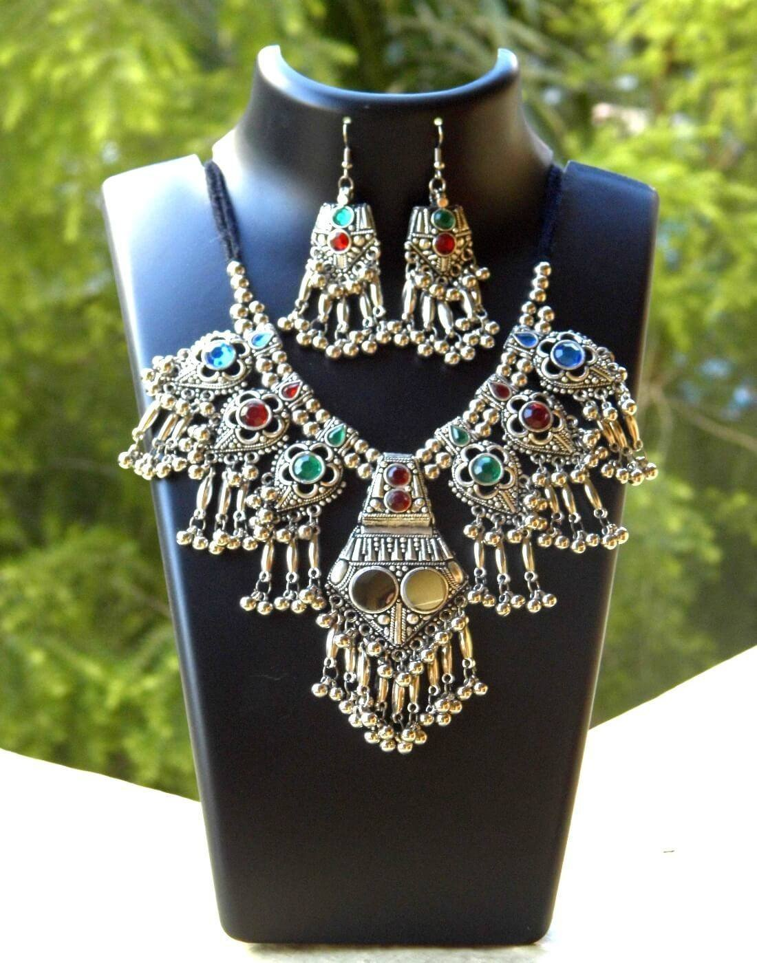 Oxidized Metal Jewellery Set- Multicolor Beads
