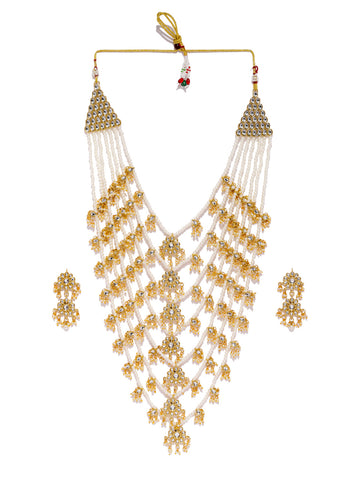Zaveri Pearls Gold Tone Floral Kundan And Pearls Multi Layer Long Bridal Jewellery Set