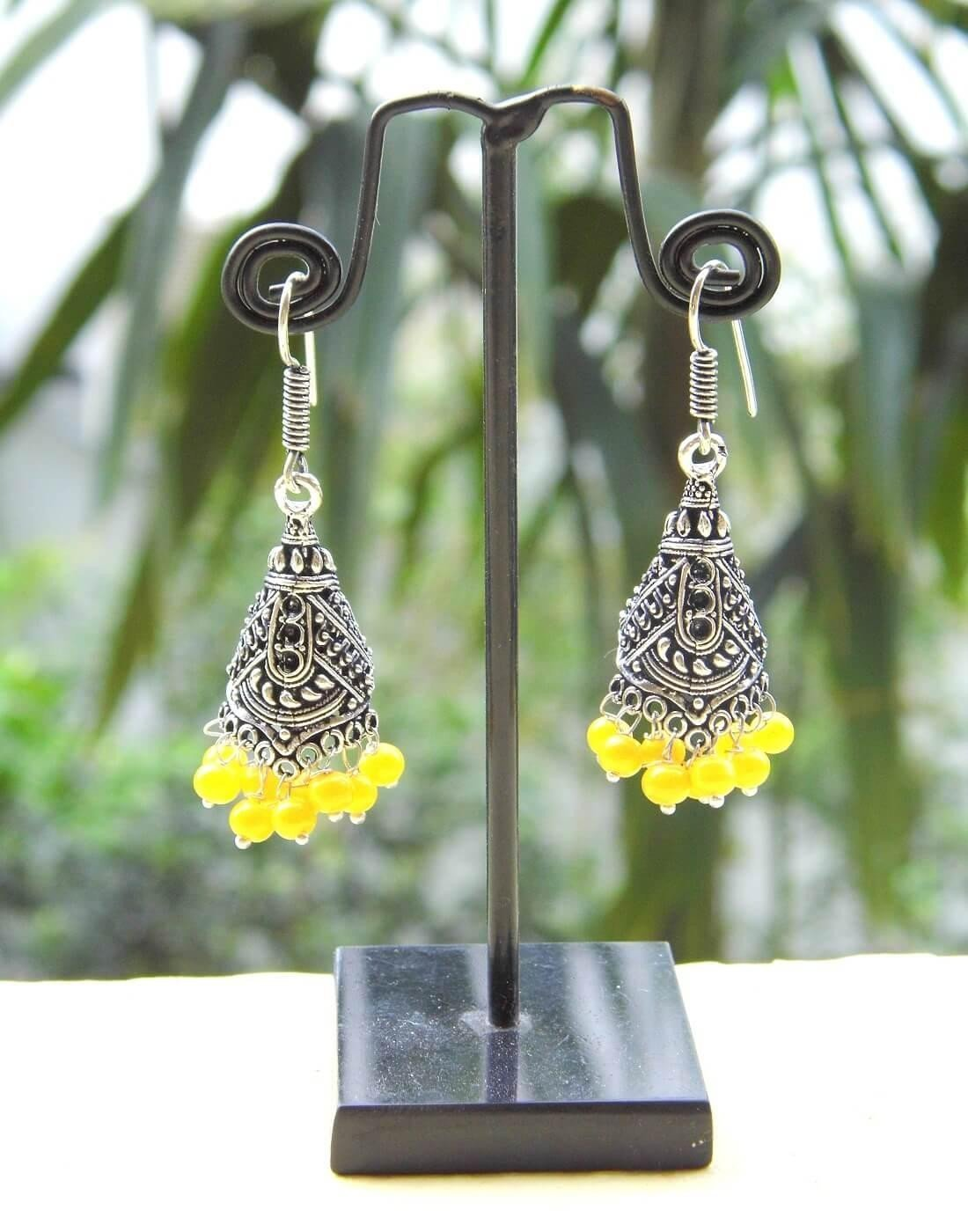 Oxidized Metal Jhumkas/Jhumkis-Yellow Beads