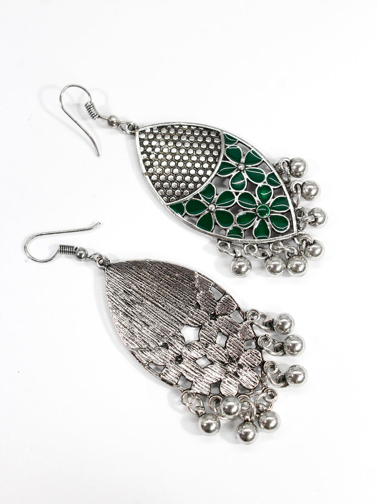 Aana Oxidised Silver Plated Leaf Design Green Color Earring