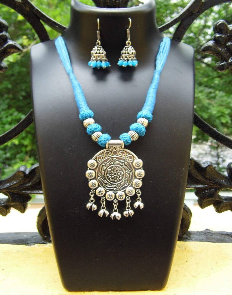 Threaded German Silver Necklace Set - Turquoise