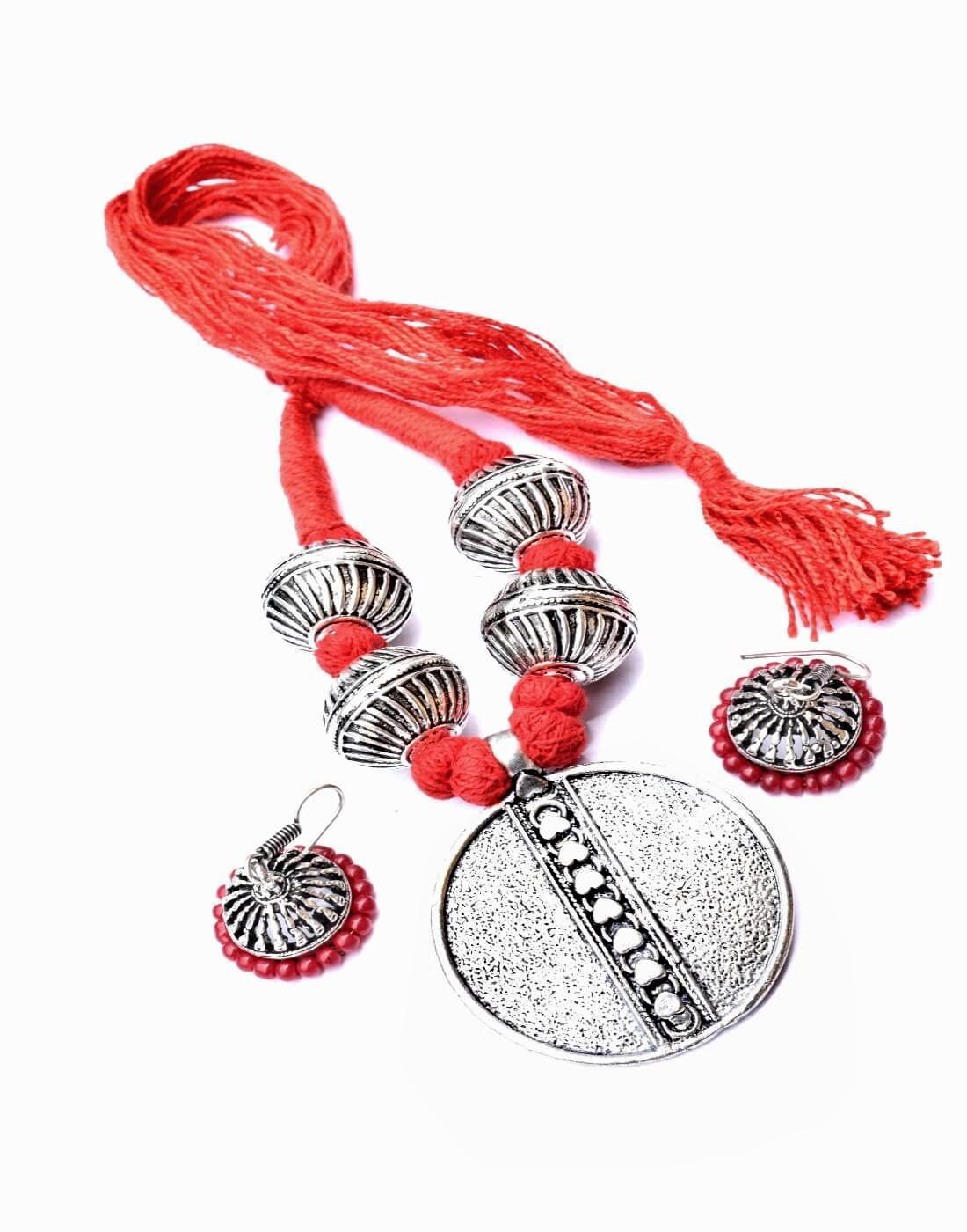 Threaded German Silver Necklace Set -Red
