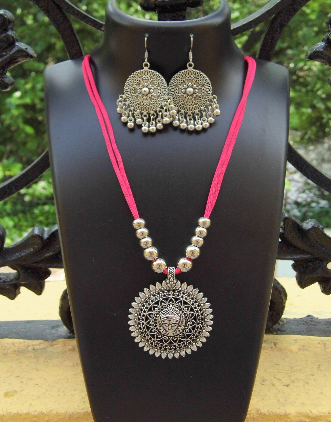 GiftPiper Oxidized Metal Threaded Necklace Set -Rogue Pink