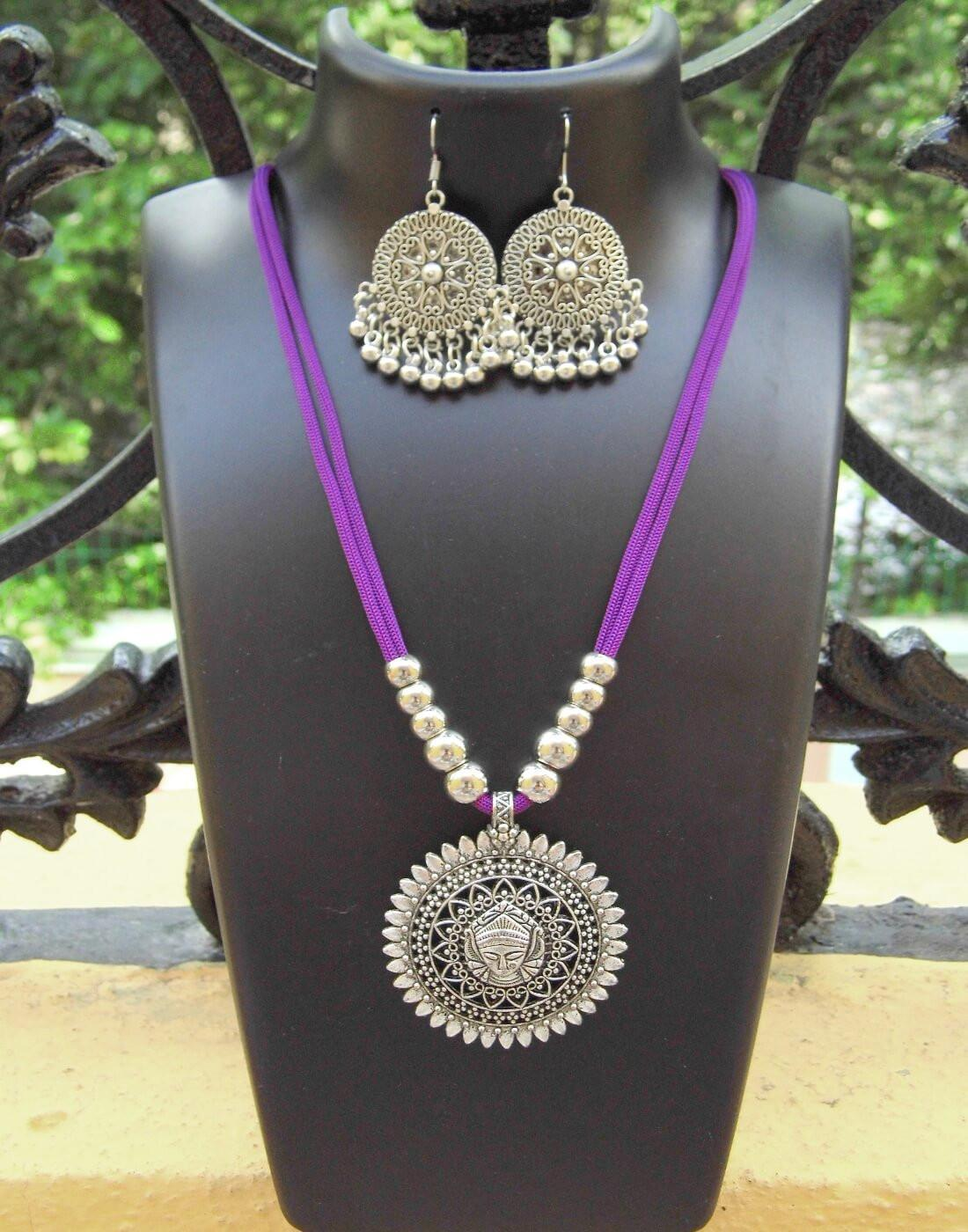 GiftPiper Oxidized Metal Threaded Necklace Set - Mauve
