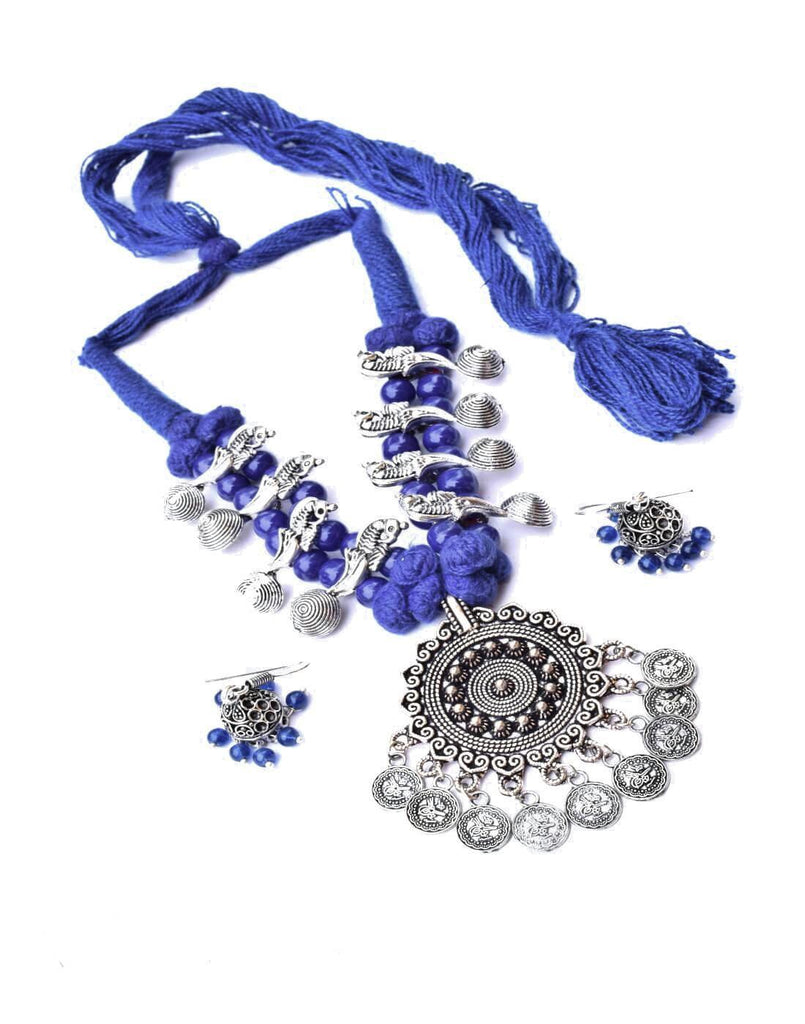 Threaded German Silver Necklace Set With Jhumki/Jhumka- Blue