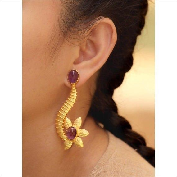 Avismaya Gold Plated Floral Design Purple Color Moonstone Dangler Earring-AVISMAYA-Earring