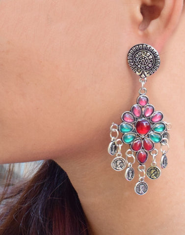 Giftpiper Pink & Green Afghani Earring With Flower Studs & Coin Tassels