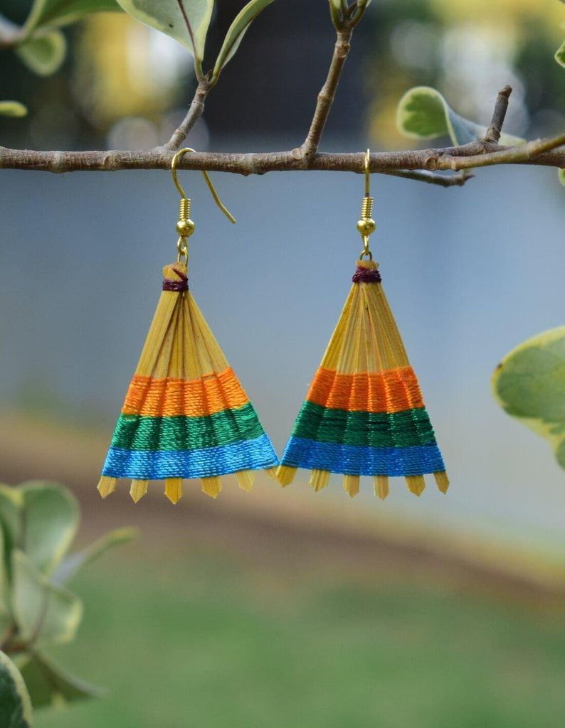 Bamboo Earrings Fan Shaped