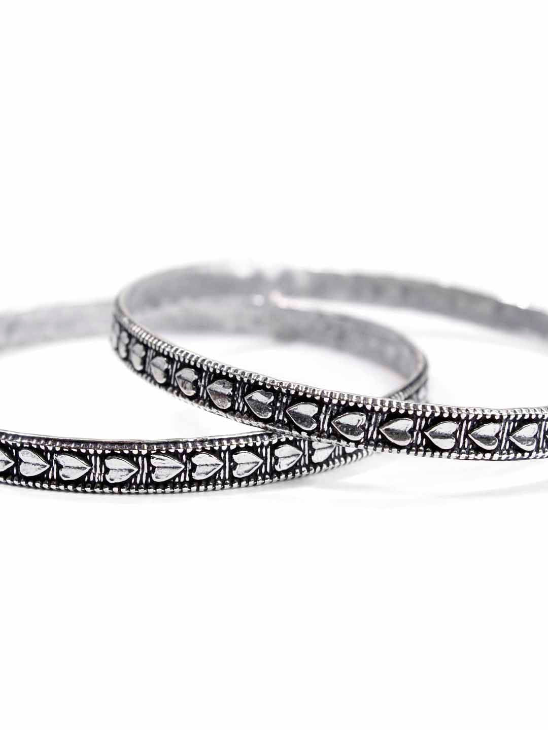 Oxidised German Silver Heart design light weight bangle