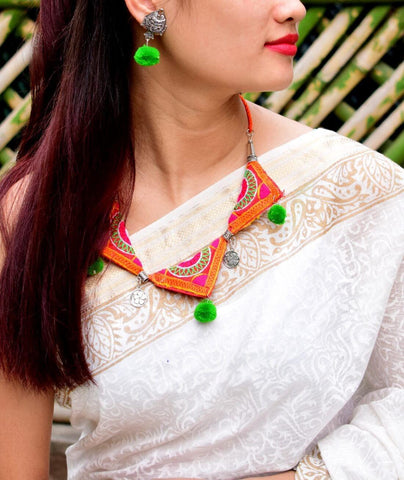 GiftPiper Kutch work Necklace Set in Fabric- Pattern 15