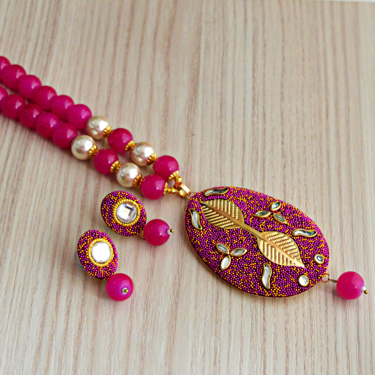 Pink Colour Beads Leaf Design With Kundan Meenakari Necklace Set