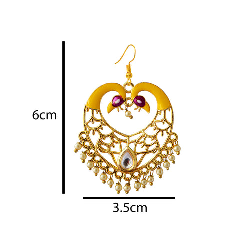 Yellow Color Meenakari Dual Peacock Crown Heart Dangler Earring