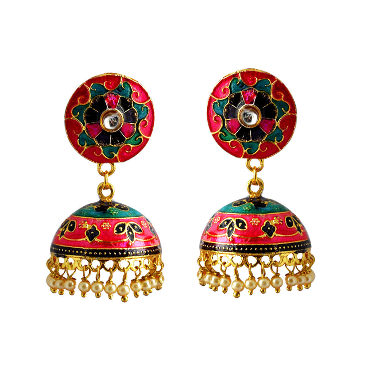 Mk Jewellers Pink Color Meenakari Jhumka Earring-MK JEWELLERS1-Earring