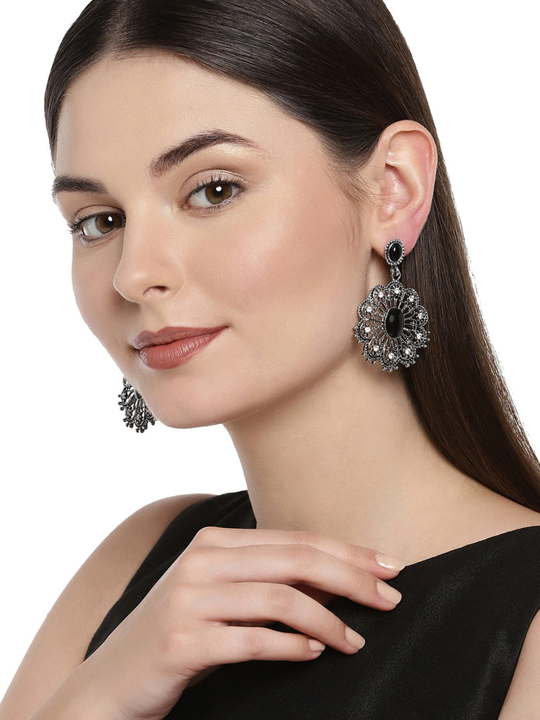 Combo Of 3 Zaveri Pearls Antique Silver Tone Dangle Earring