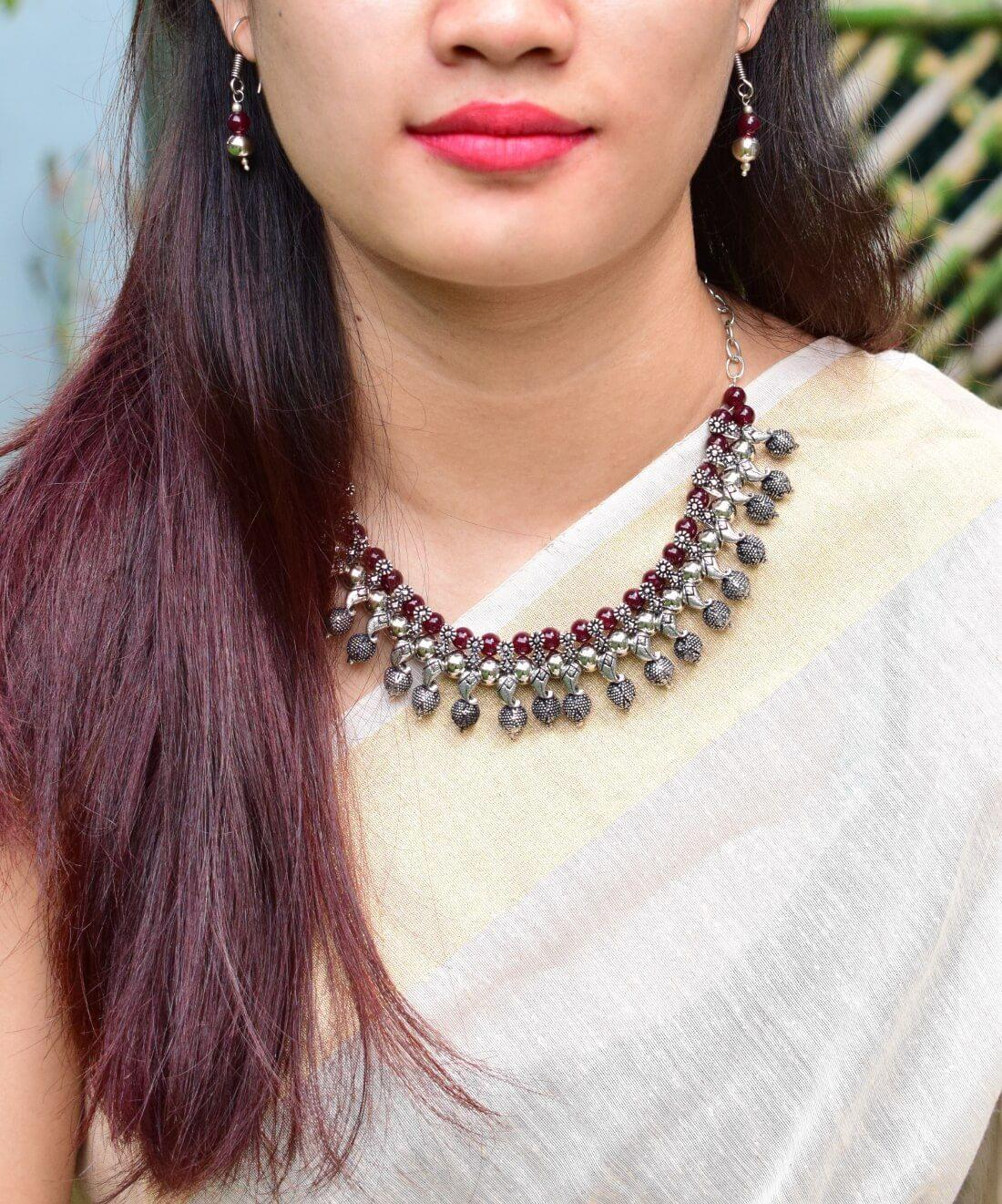 Brown Beads Oxidised German Silver Kolhapuri Necklace Set