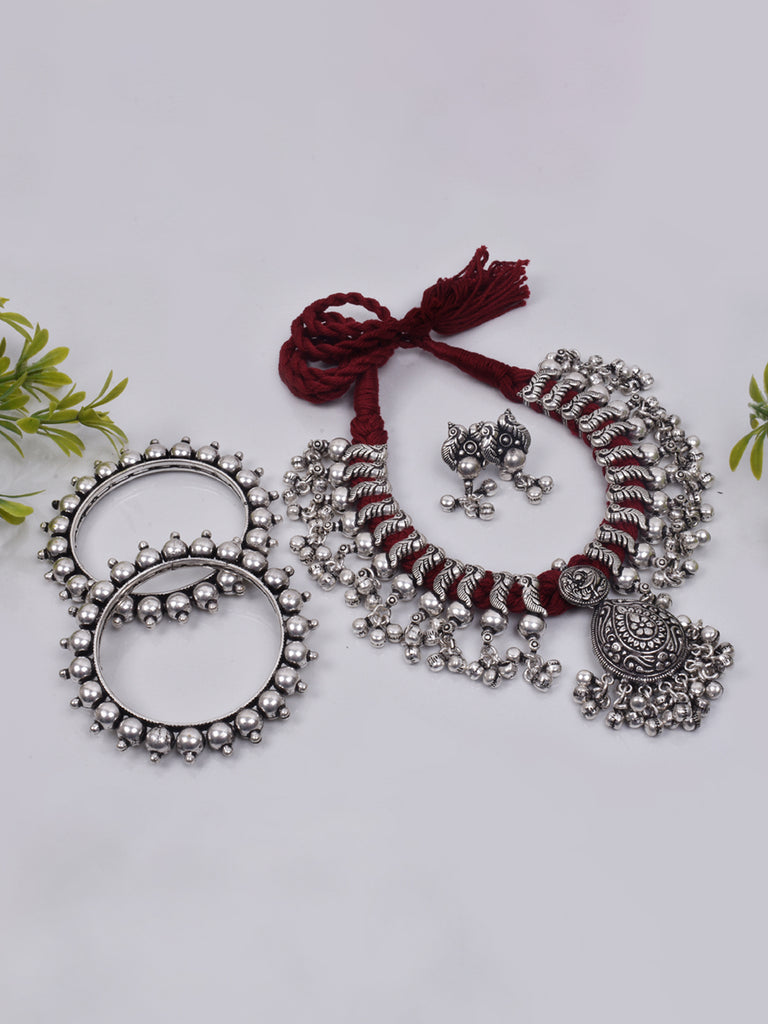 Oxidised German Silver Peacock Design With Ghungroo Dropping Jewellery Set With Bangles-OXIDIZED1-Jewellery Set