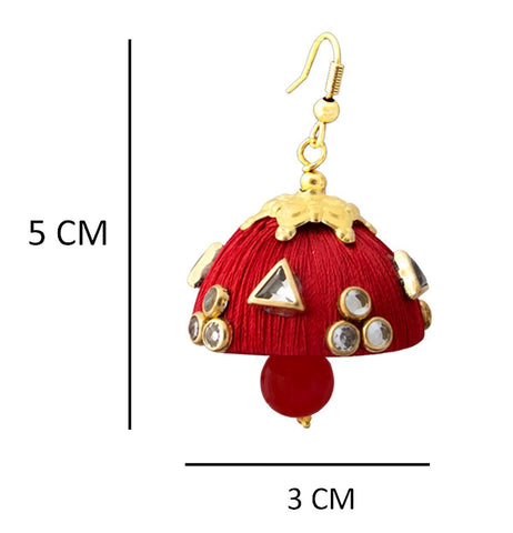Gorgeous Dangling Drop Beads Red Silk Tokri Jhumki Earring