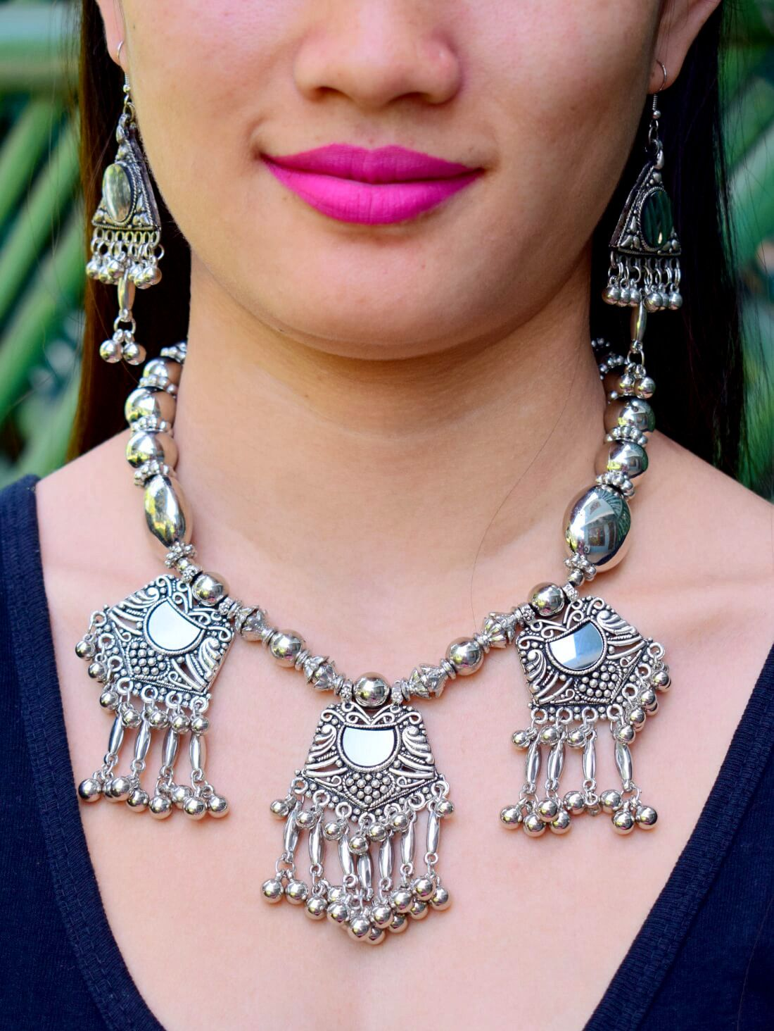 Oxidized Metal Navratri Design Necklace Set Pattern 15-GIFTPIPER1-Necklace Set