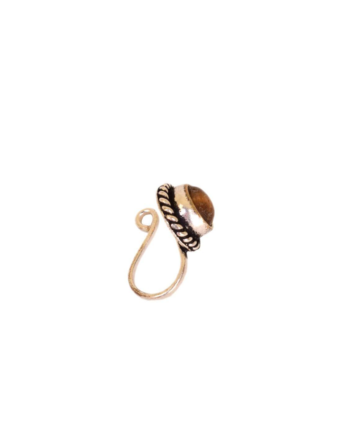 Oxidized Metal Nose Pin Brown Bead Nose Pin