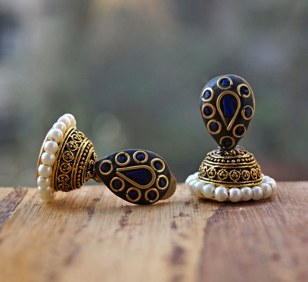 Blue And Golden Colour Jhumka Earring