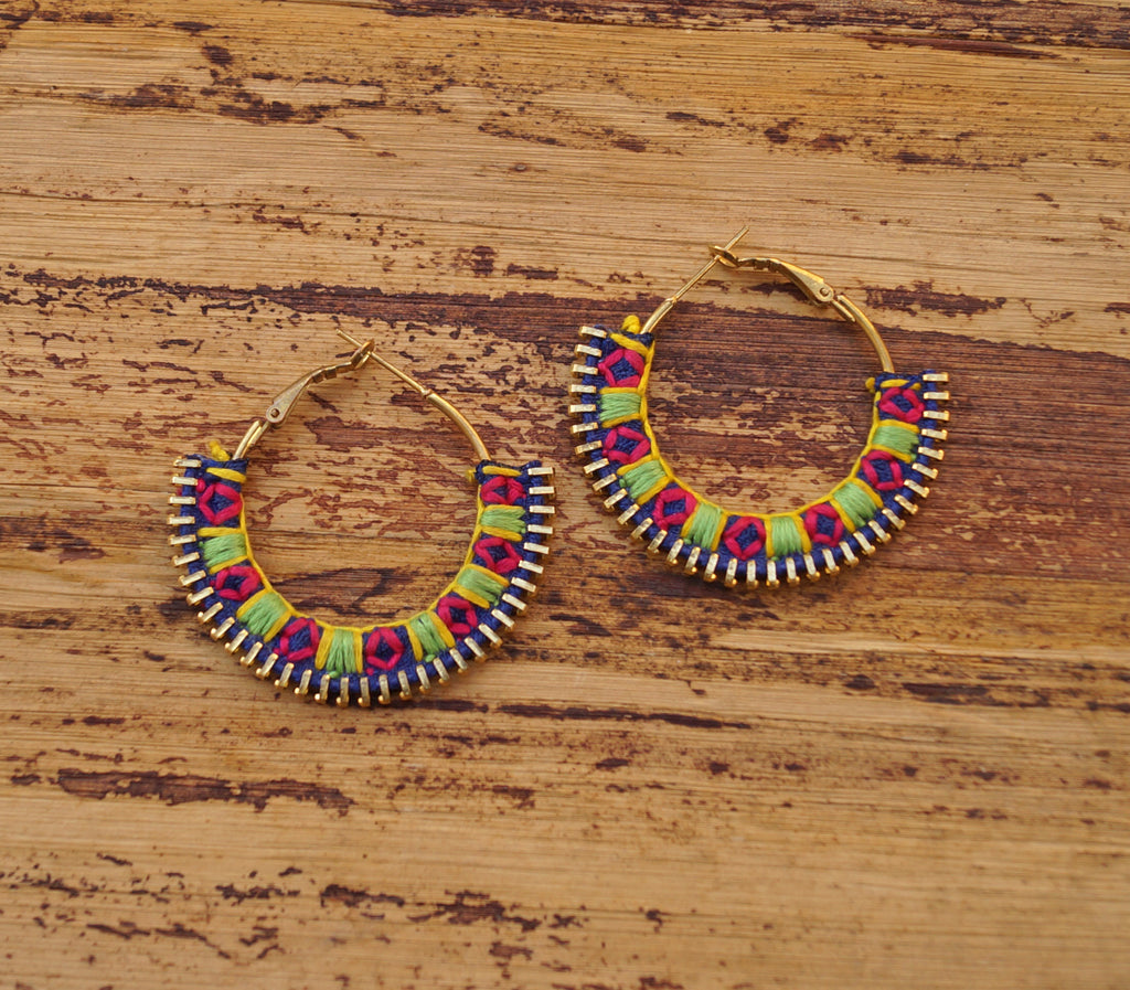 Blue Colour Tribal Zip Embroidered Latch Hoop Earring