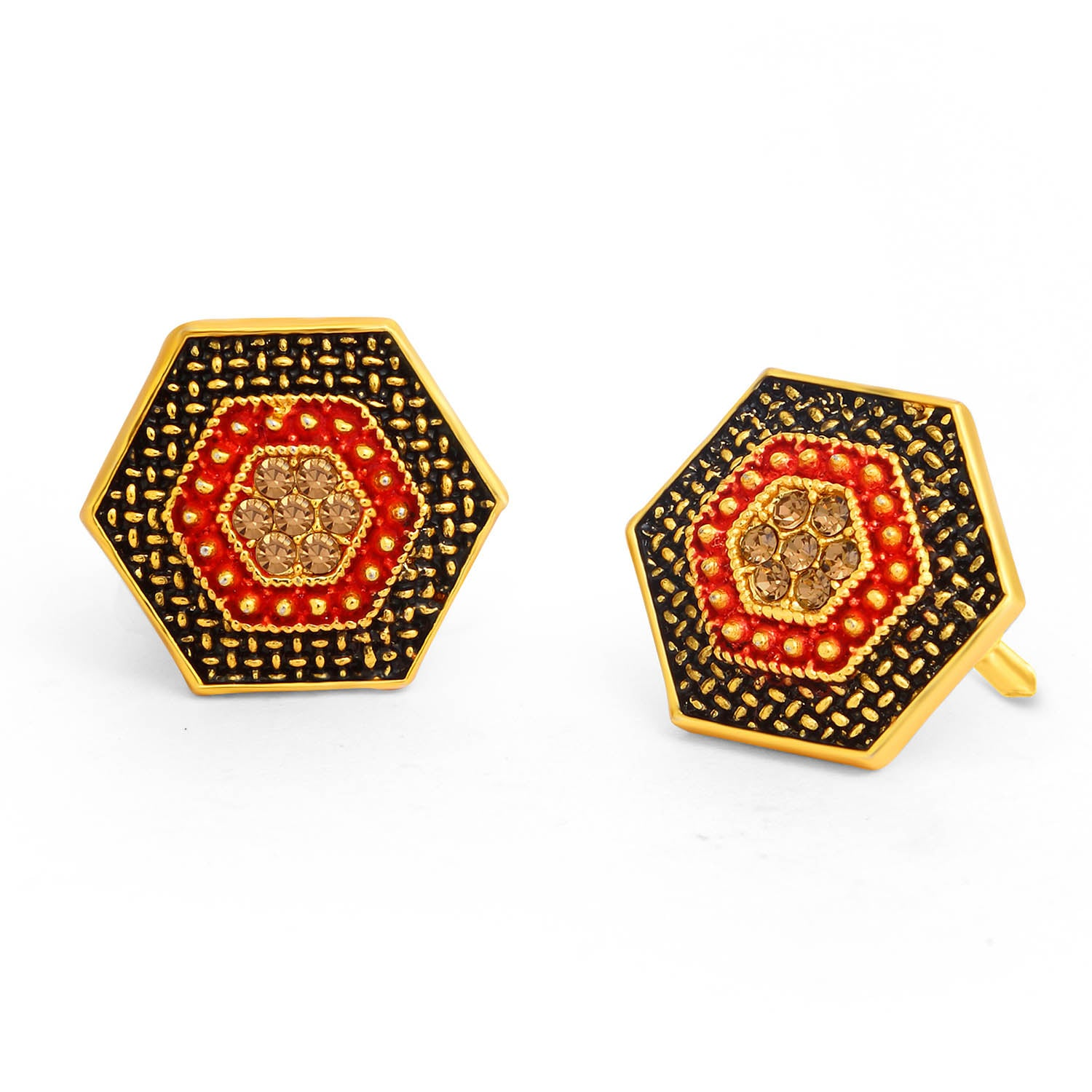 Sukkhi Innovative LCT Stone Gold Plated Hexagon Red Mint Meena Collection Stud Earring For Women-SUKKHI1-Earring