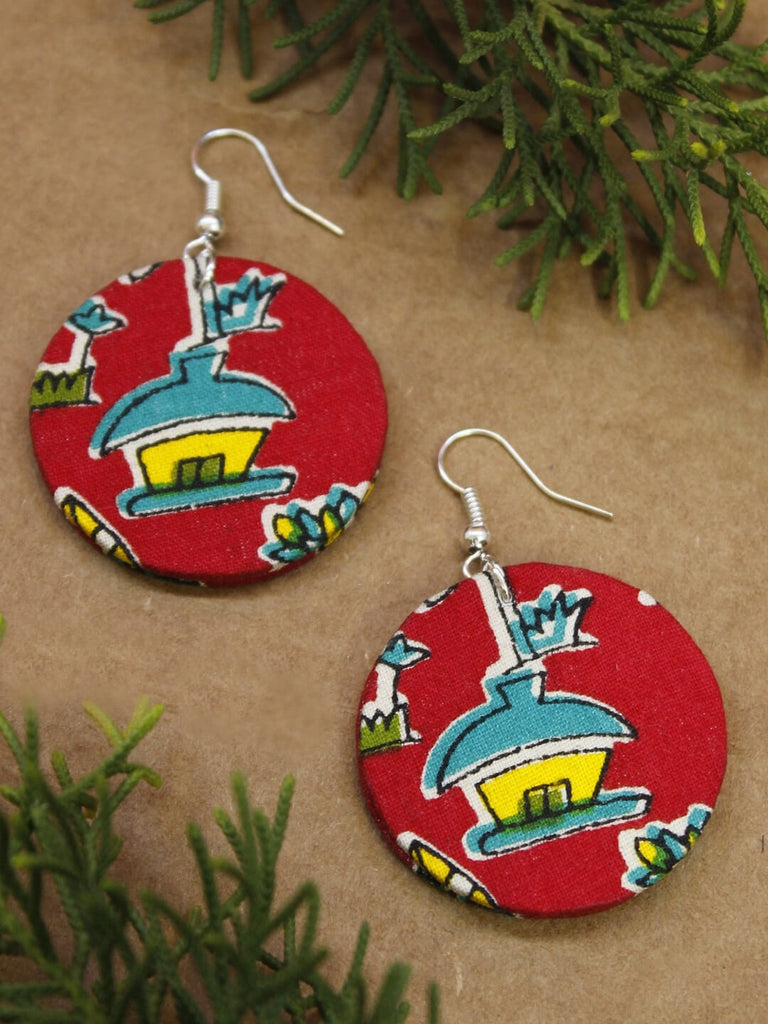 Handmade Kalamkari Fabric Printed Circle V Cut Red Pendant With Tibetan Bead Adjustable Necklace Set-AVISMAYA1-Necklace Set