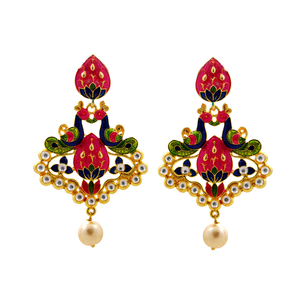 MK Jewellers Fine Dual Peacock Design Meenakari Danglers Tingy Pink And Blues Earring-MK JEWELLERS1-Earring