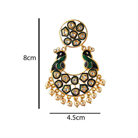 Mk Jewellers Green And Black Meenakari Circle Dual Peacock Kundan Dangler Earring