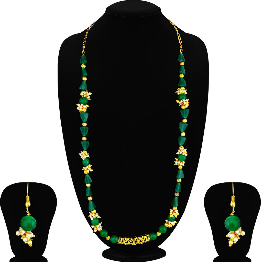 Sukkhi Gleaming Gold Plated Pearl Long Haram Necklace Set For Women-SUKKHI1-Necklace Set