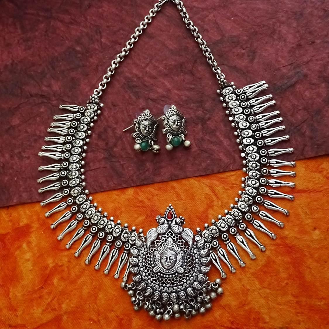 Oxidized German Silver Durgama And Peacock Design Temple Necklace Set-GEMS N PEARLS-Necklace Set