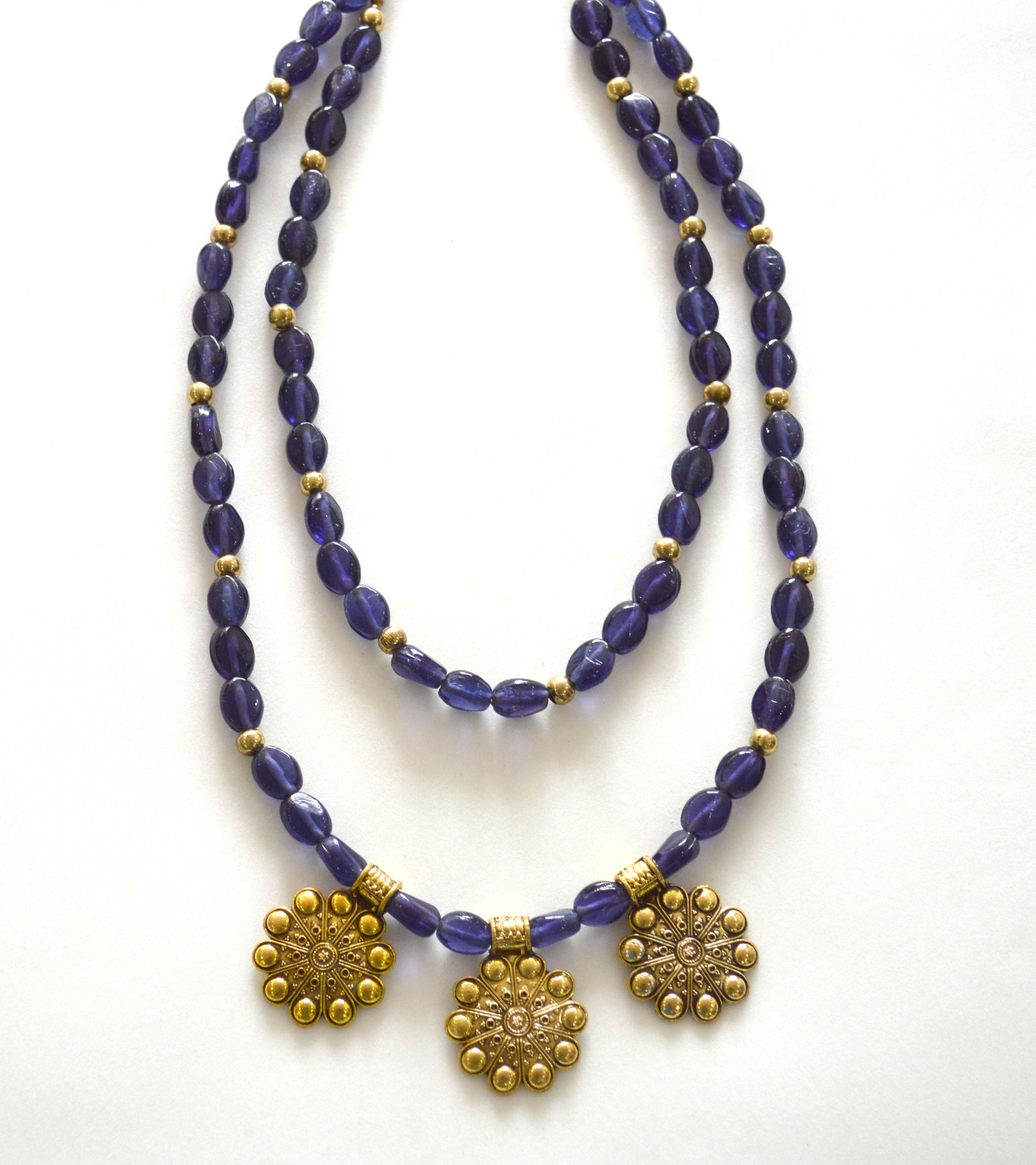 Blue Color Glass Beads 2 Layered Long Necklace