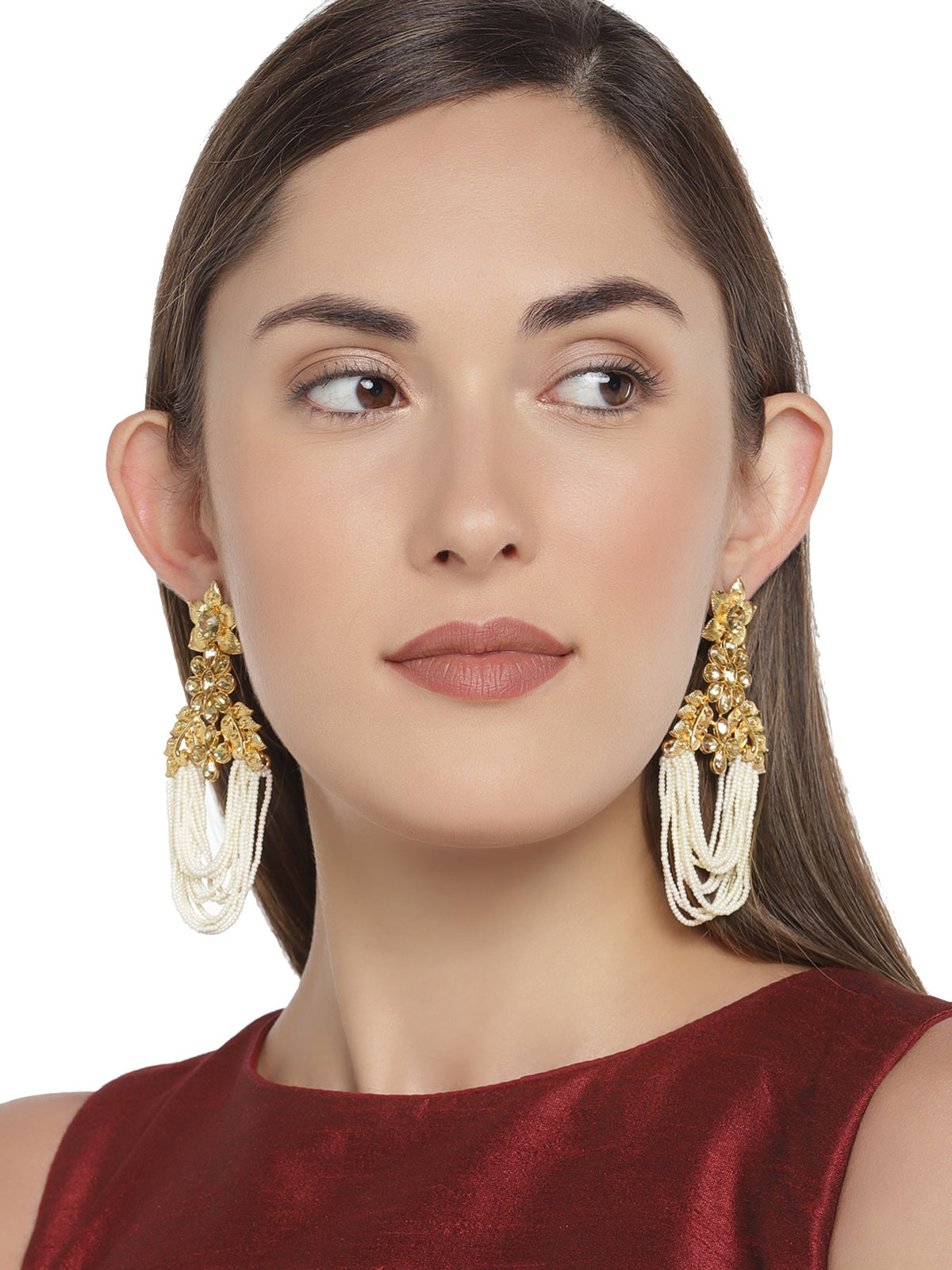 Zaveri Pearls Gold Tone Traditional Pearls Dangler Earring