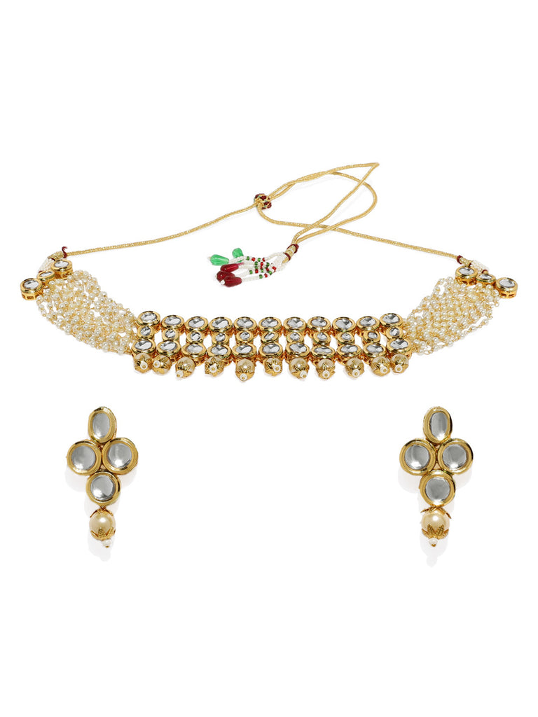 Zaveri Pearls Gold Tone Mesmerising Kundan And Pearl Traditional Choker Necklace Set-ZAVERI PEARLS1-Necklace Set