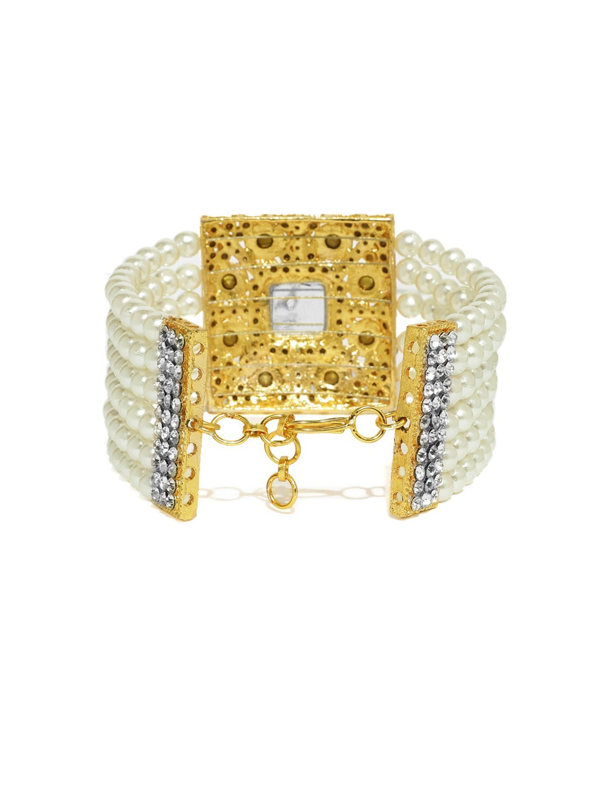 Gold Tone Traditional Pearl And Austrian Diamonds Bracelet
