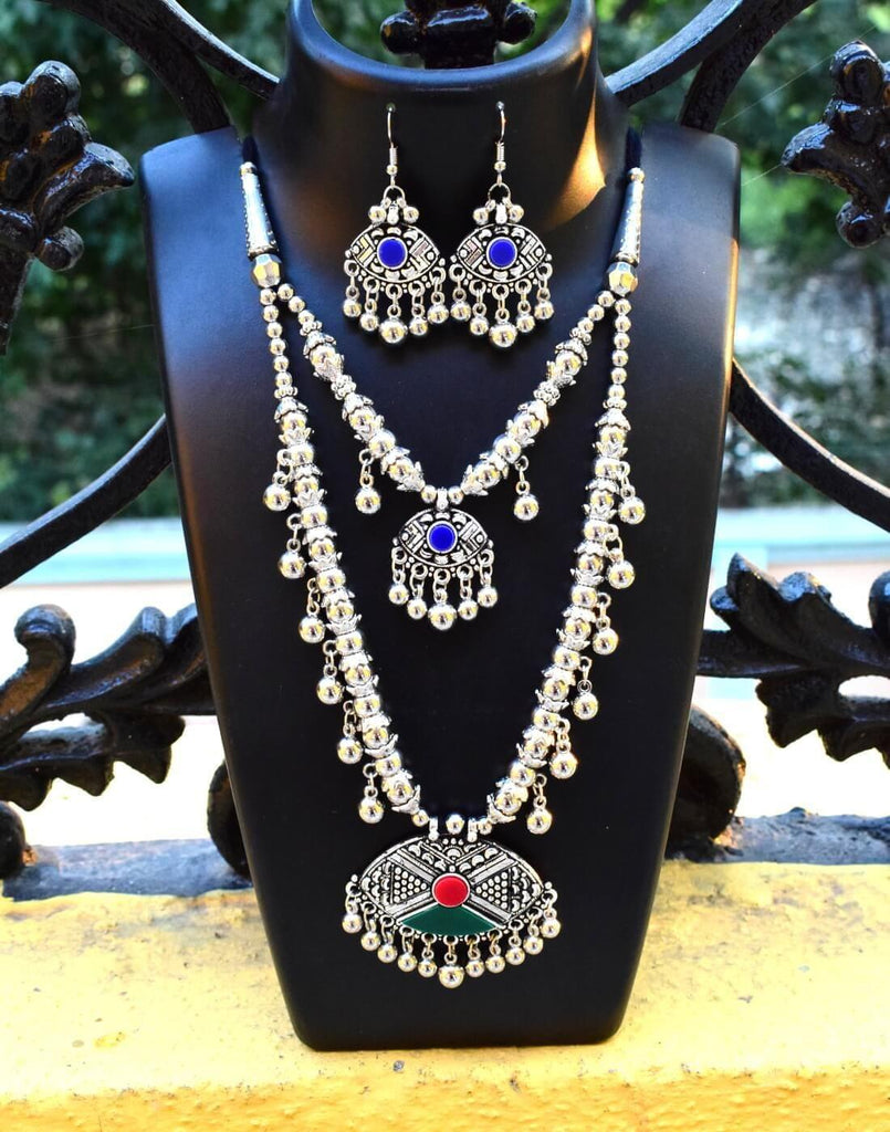 Double Strand Oxidized Metal Set Multicoloured Necklace Set