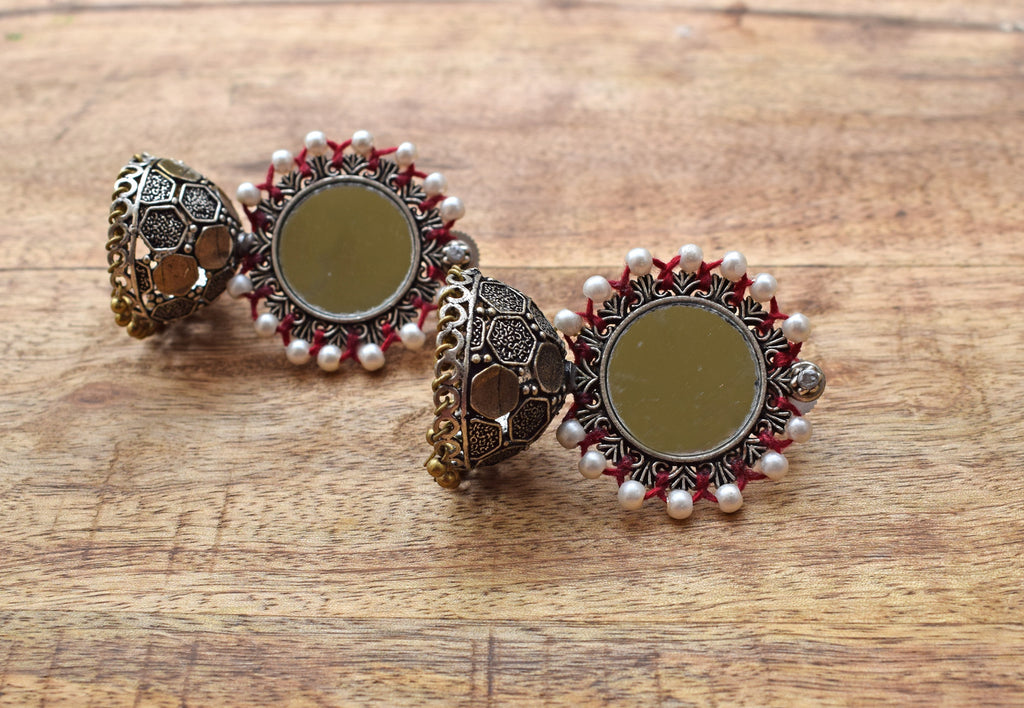 Red And White Color Mirror Jhumka Earring-ANETRA1-Earring