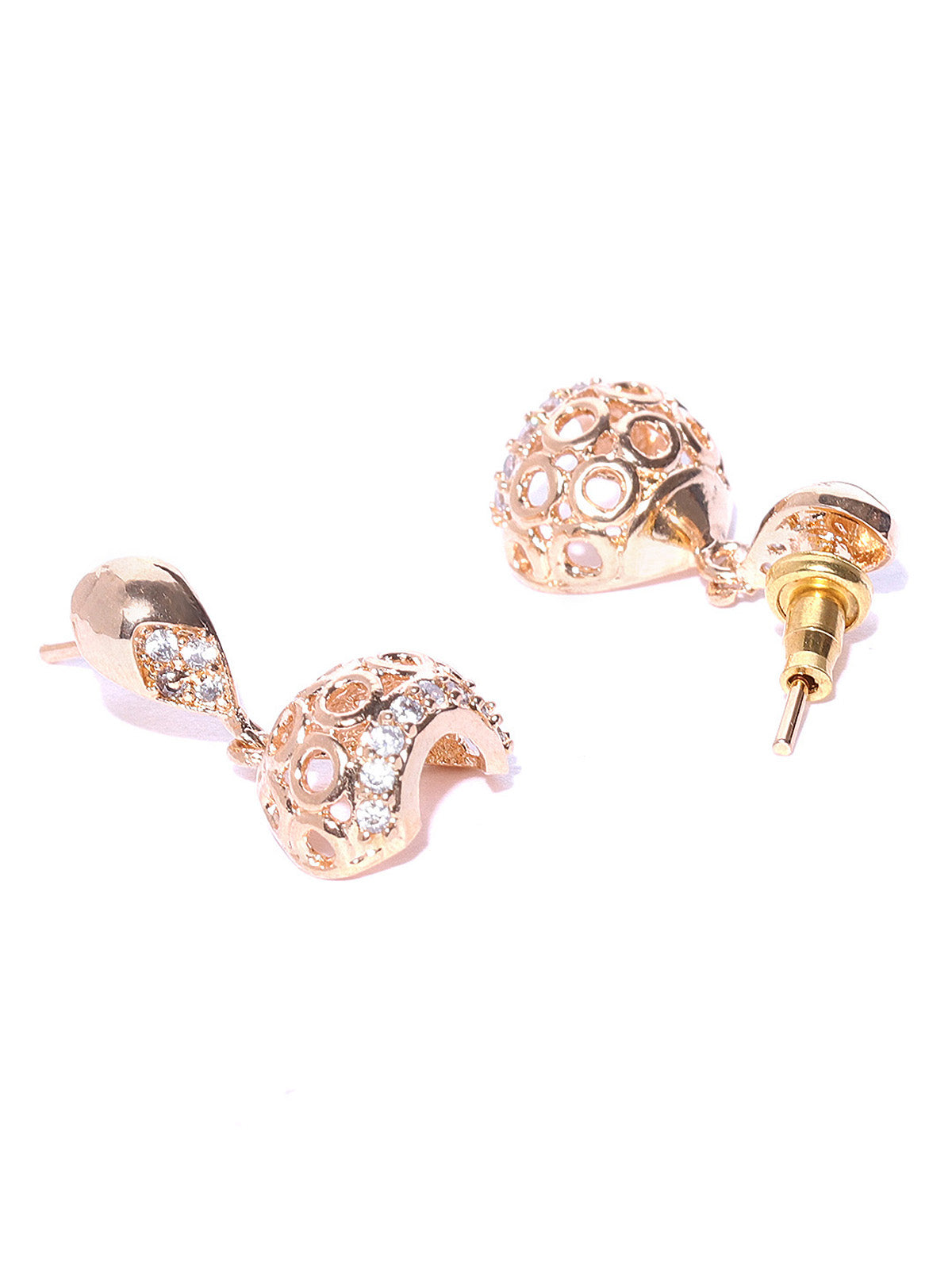 Zaveri Pearls Cubic Zirconia Studded Rose Gold Jhumki Earring