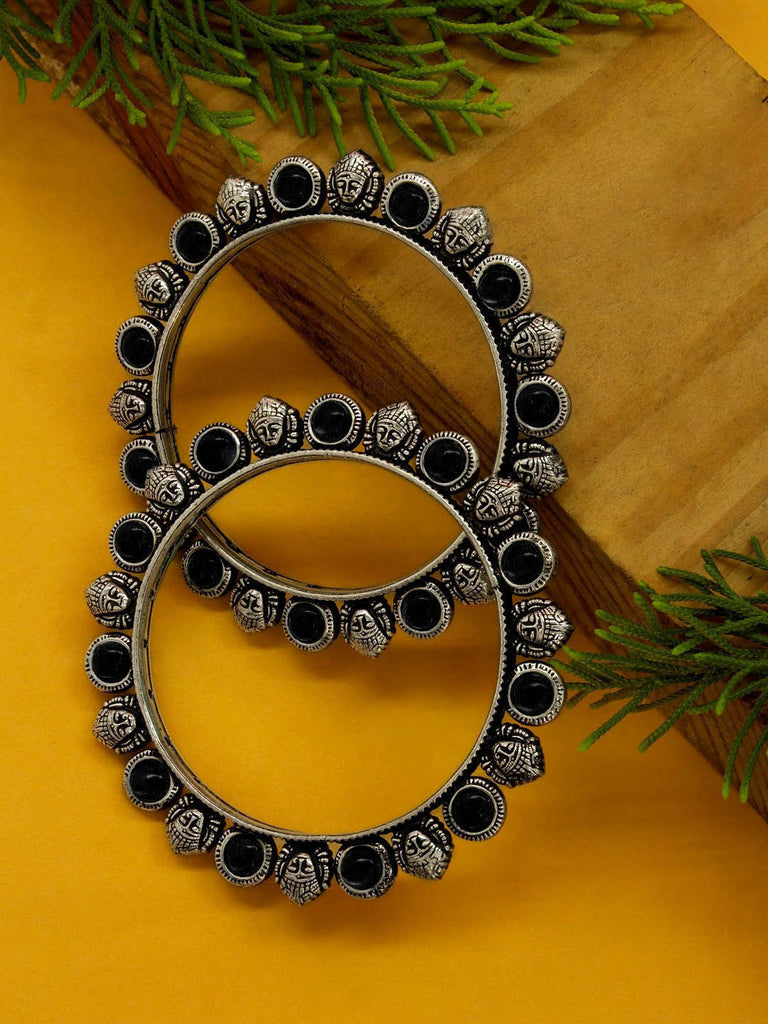 Oxidised German Silver Durgama Design Set Of 2 Bangles-OXIDIZED-Bangle