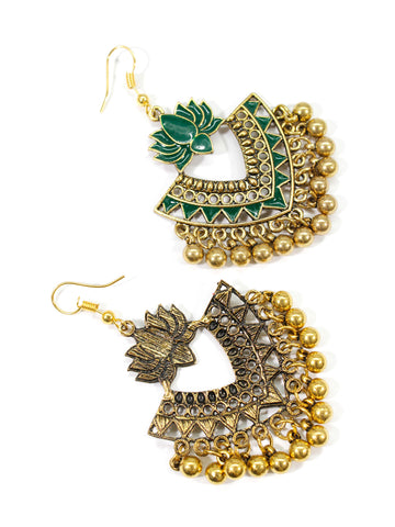 Aana Gold Plated Green Color Lotus Design Afghani Earring