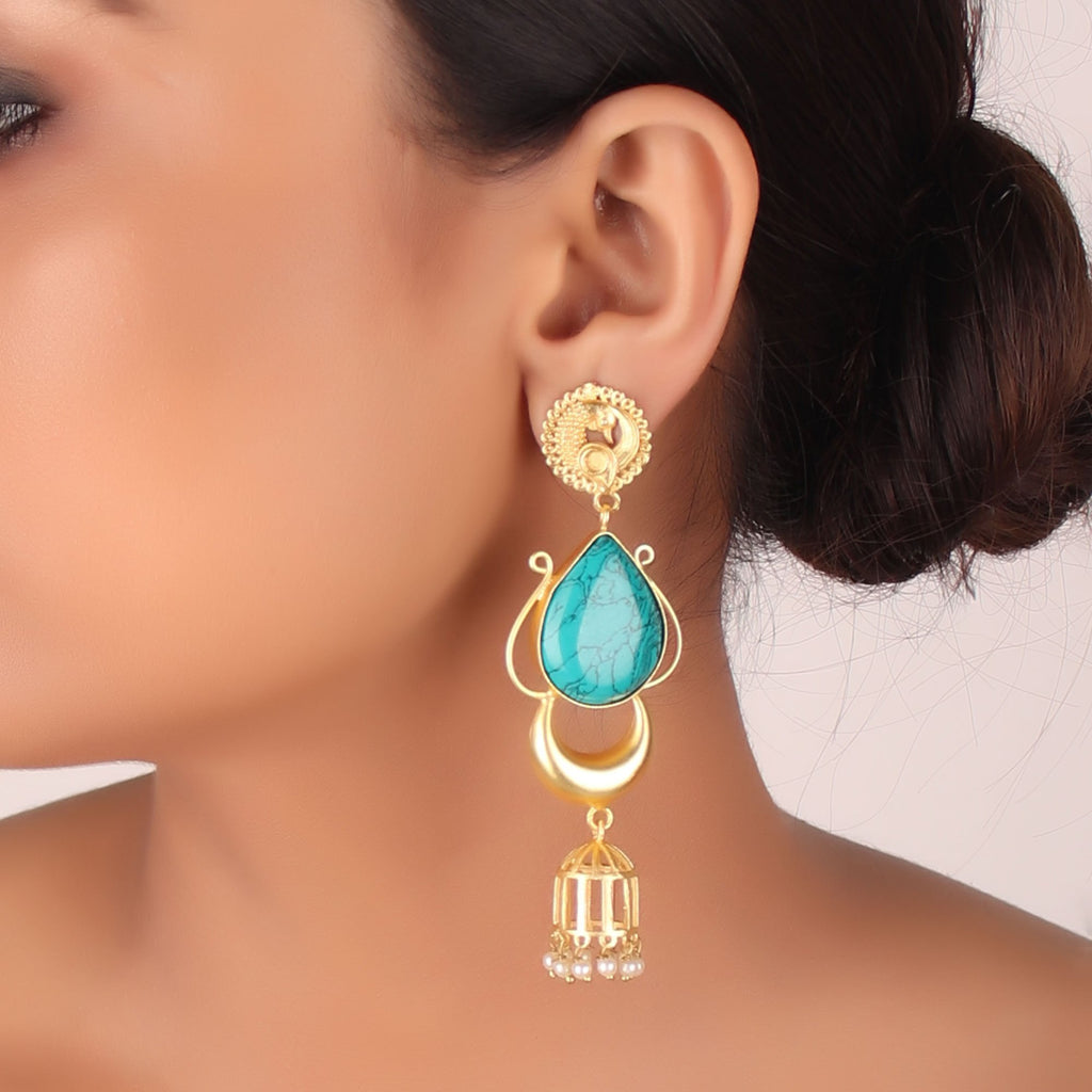 Gold Plated Sea Green Color Stone Peacock Design Delightful Glitter Jhumka Earring By Cippele-Cippele-Earring
