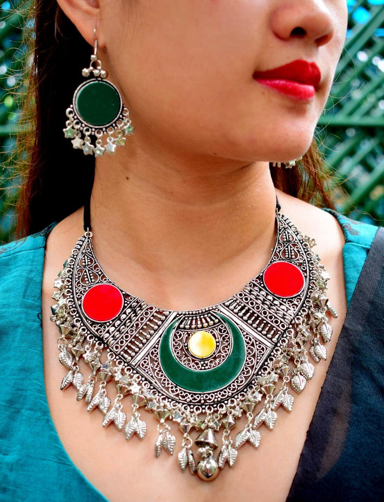 Oxidized Metal Navaratri Colored  Red And Green Necklace Set