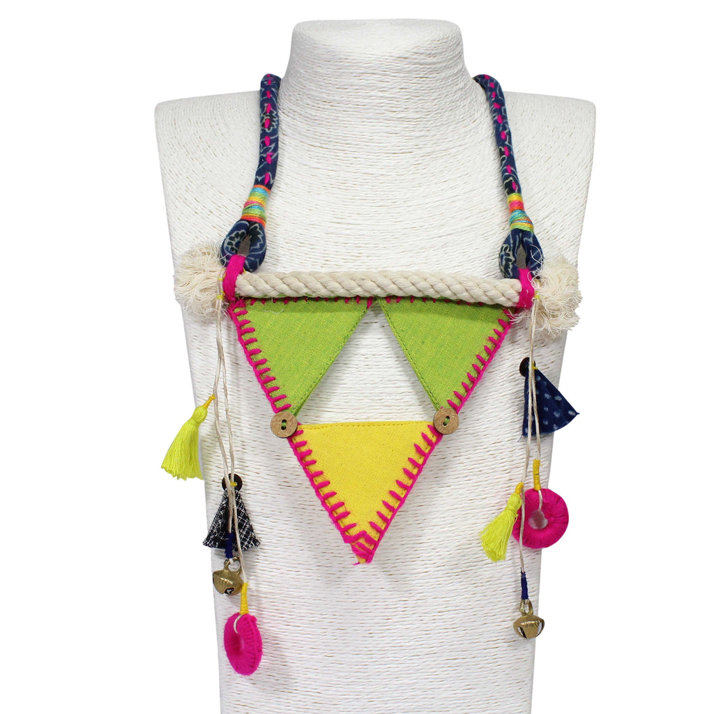 HandCrafted Green And Yellow cotton Triangle Design Necklace