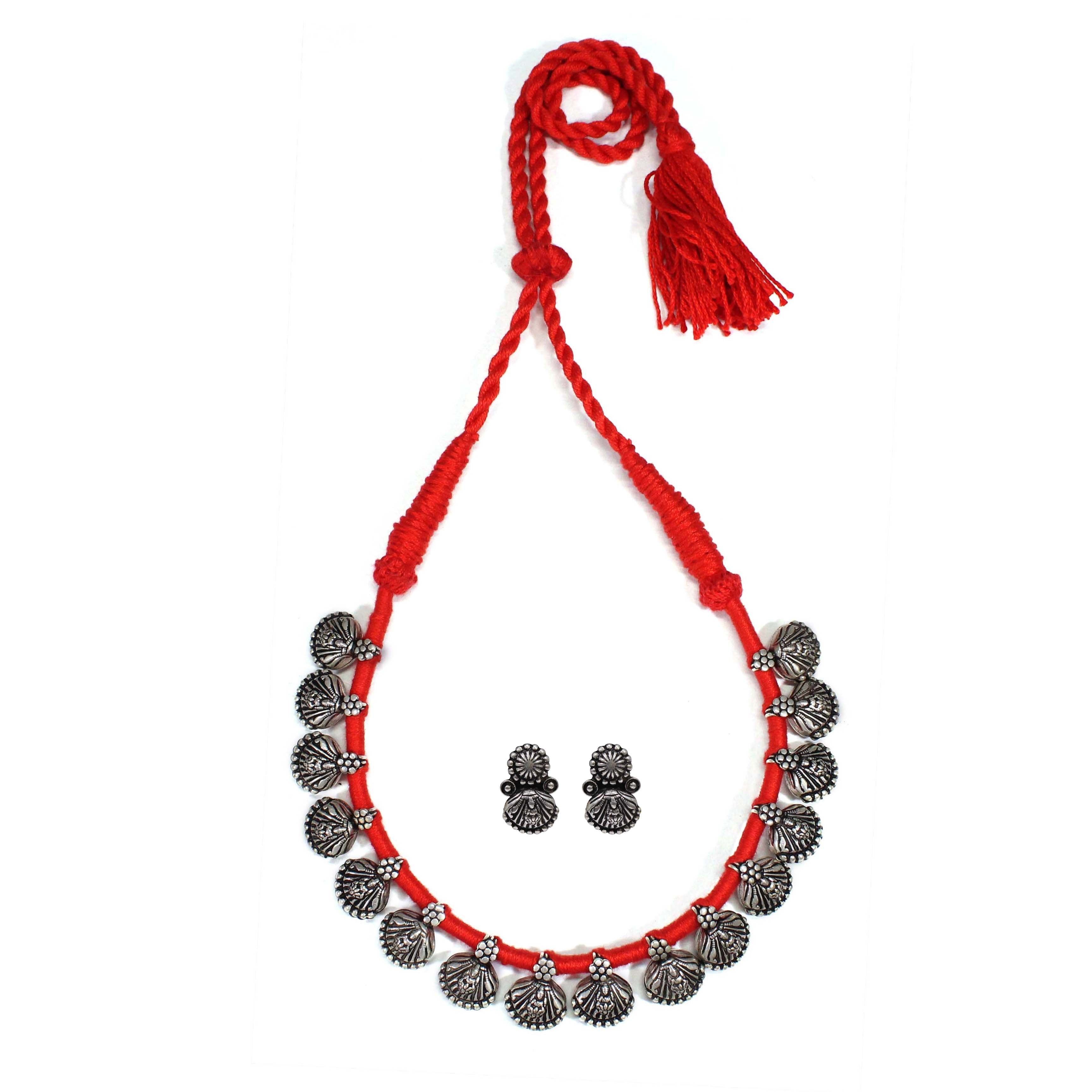 Oxidised German Silver Goddess Lakshmi Design Choker Necklace Set With Red Adjustable Dori
