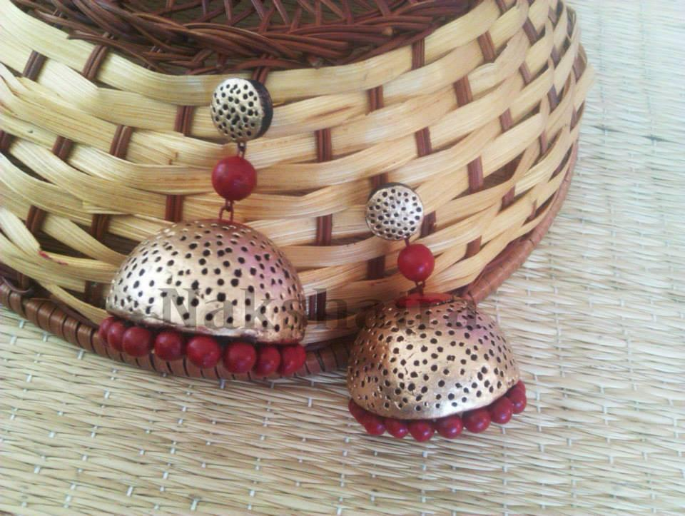 Brown And Gold Terracotta Jhumka By Nakshatra