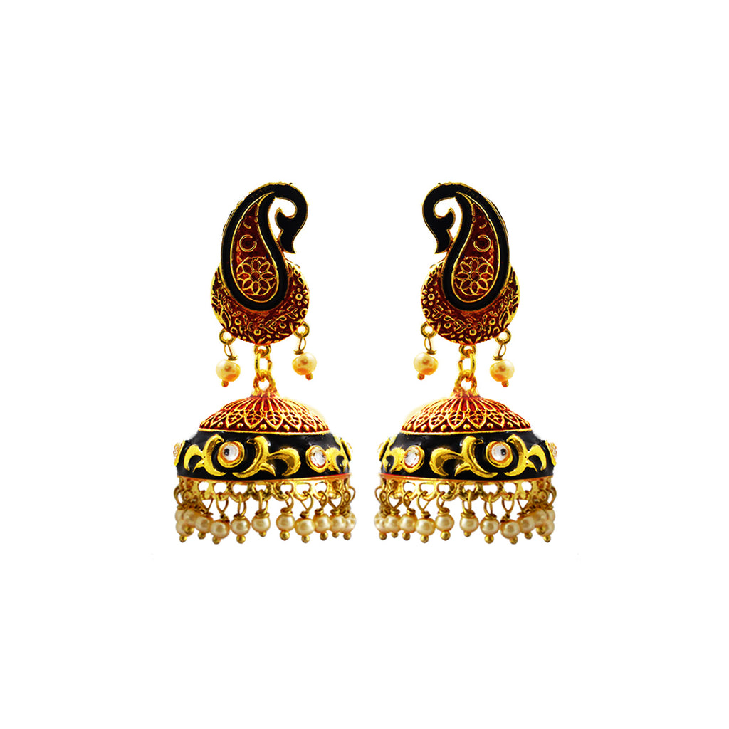 MK Jewellers Antique Afghani Dome Jhumka Red Black Earring-MK JEWELLERS1-Earring