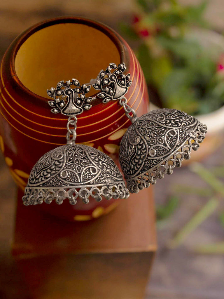 Oxidized German Silver Peacock Design Jhumka Earring-OXIDIZED-Earring